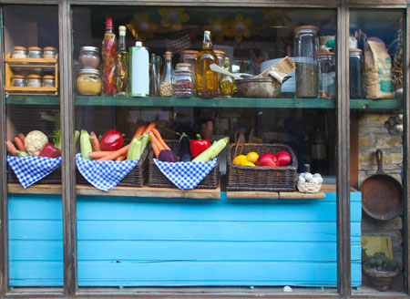 Healthy Shop-front with Jars